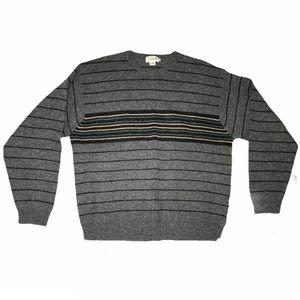 J. Crew 100% Lambs Wool Sweater XL Striped Extra Large Gray Green Black